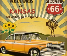 Retro car travel poster vector graphics 06