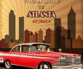 Retro car travel poster vector graphics 07
