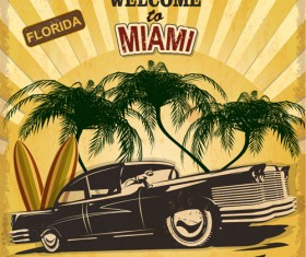Retro car travel poster vector graphics 08