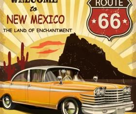 Retro car travel poster vector graphics 09