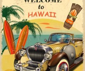 Retro car travel poster vector graphics 10