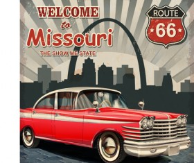 Retro car travel poster vector graphics 11