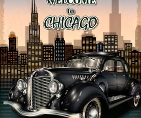 Retro car travel poster vector graphics 12