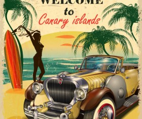 Retro car travel poster vector graphics 13