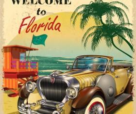 Retro car travel poster vector graphics 14