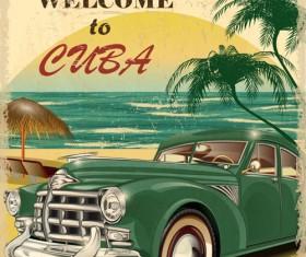 Retro car travel poster vector graphics 15