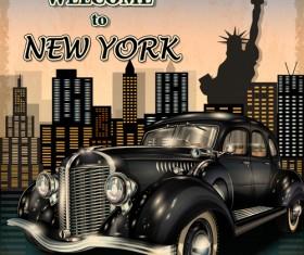 Retro car travel poster vector graphics 16