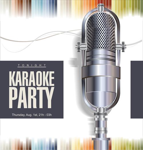 Rock night karaoke party poster vector 02