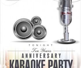 Rock night karaoke party poster vector 03
