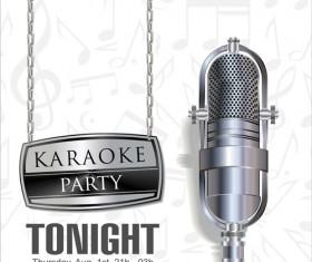 Rock night karaoke party poster vector 04