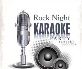 Rock night karaoke party poster vector 05
