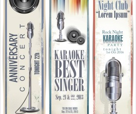 Rock night karaoke party poster vector 07
