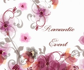 Romantic style pink flowers vector background