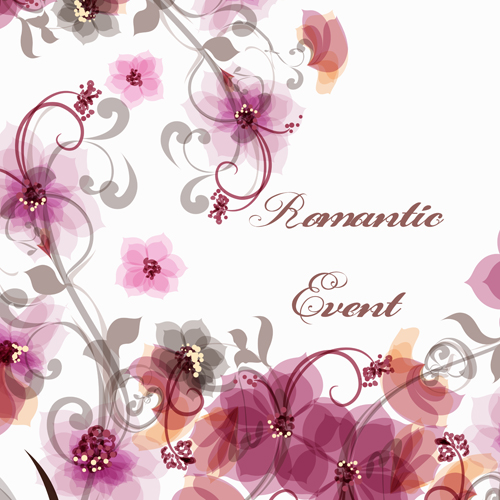Romantic Style Pink Flowers Vector Background Free Download
