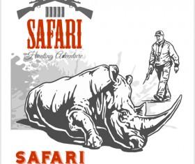 Safari hunting clud poster vector 01