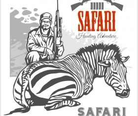 Safari hunting clud poster vector 02