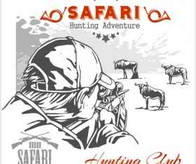 Safari hunting clud poster vector 03