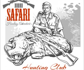 Safari hunting clud poster vector 04