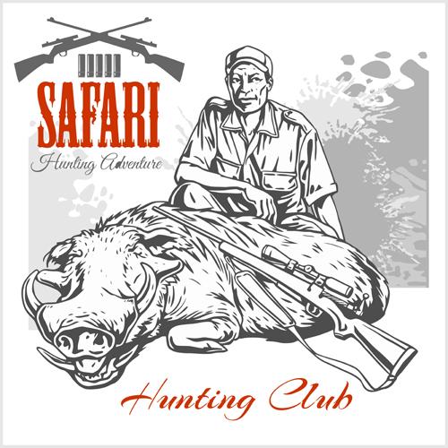 Safari hunting clud poster vector 04