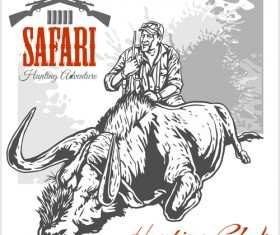 Safari hunting clud poster vector 05