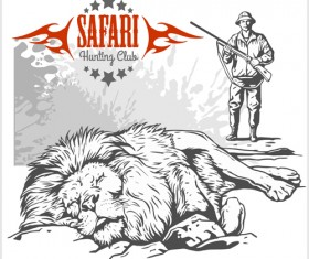 Safari hunting clud poster vector 06