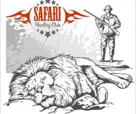 Safari hunting clud poster vector 06