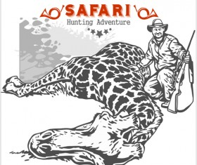 Safari hunting clud poster vector 07