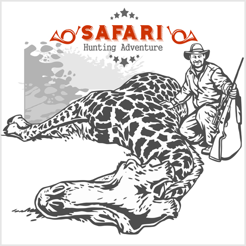 Safari hunting clud poster vector 07