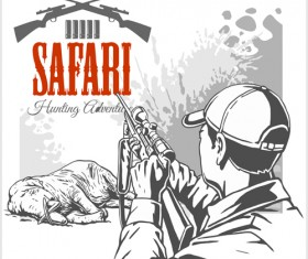 Safari hunting clud poster vector 08