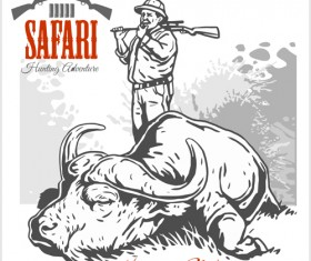 Safari hunting clud poster vector 09