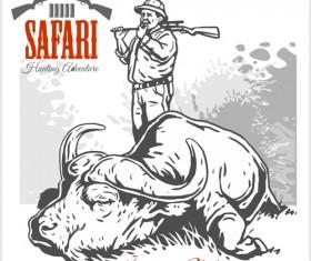 Safari hunting clud poster vector 09