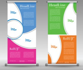 Scrolls business banners vector set 05