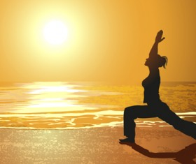 Seaside sunset background with yoga silhouetter vector 01