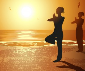 Seaside sunset background with yoga silhouetter vector 02