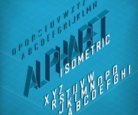 Set of 3D Isometric Alphabet Vector 01