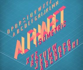 Set of 3D Isometric Alphabet Vector 02