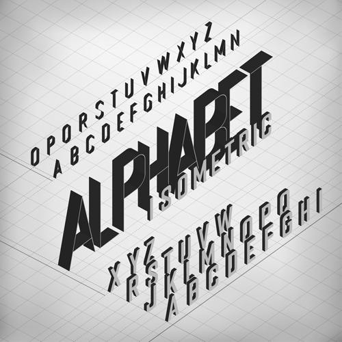 Set of 3D Isometric Alphabet Vector 03