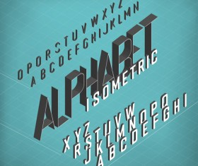 Set of 3D Isometric Alphabet Vector 07