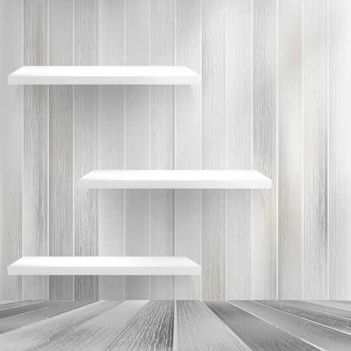 Shelf and wooden wall vector 01
