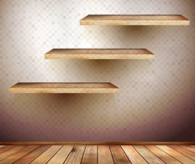 Shelf and wooden wall vector 03
