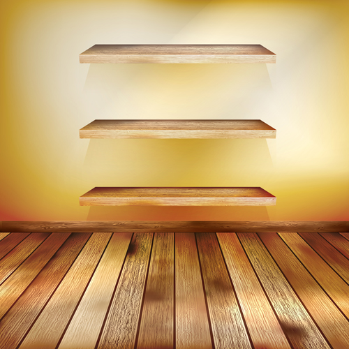Shelf and wooden wall vector 04