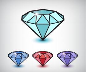 Shiny Colored Diamond Graphics Vector