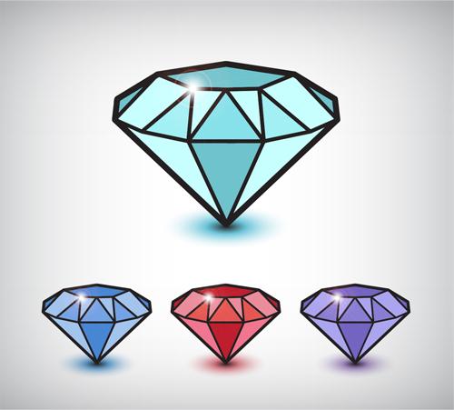 Shiny Colored Diamond Graphics Vector
