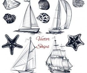 Ships boads with sea hand drawn vector 01