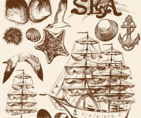 Ships boads with sea hand drawn vector 02