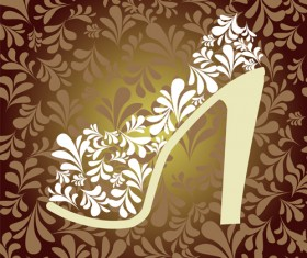 Shoes with floral background vector 02