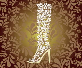 Shoes with floral background vector 03
