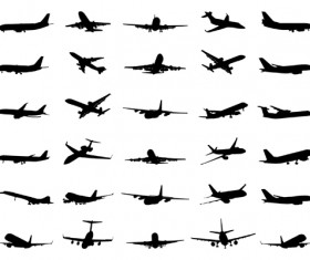 Silhouette aircraft set vector 01