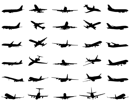 Set Aircraft Silhouettes Stock Vector 21969436 - Shutterstock