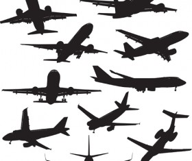 Silhouette aircraft set vector 02